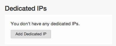 Add Dedicated IP button