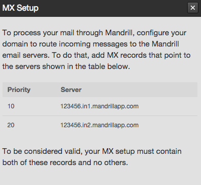 MX records set up window in web app