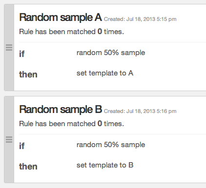 Example of random sampling rules