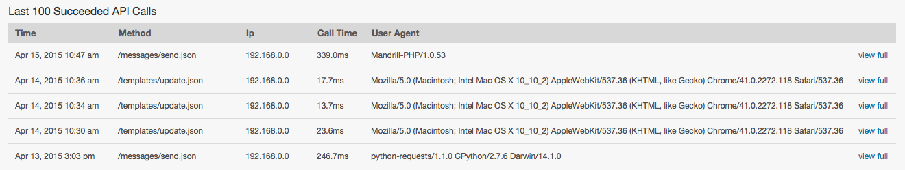 Recent API calls in the Mandrill web interface