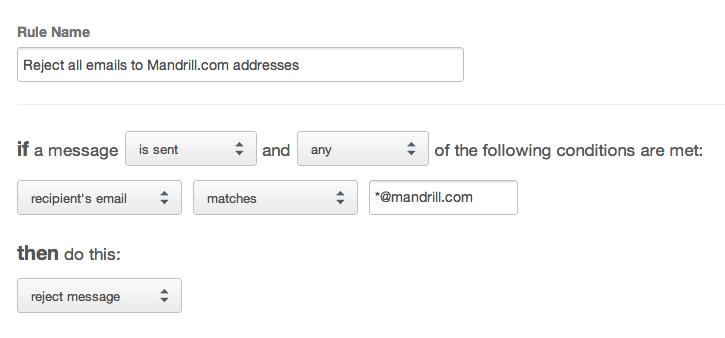 Reject mandrill.com recipients