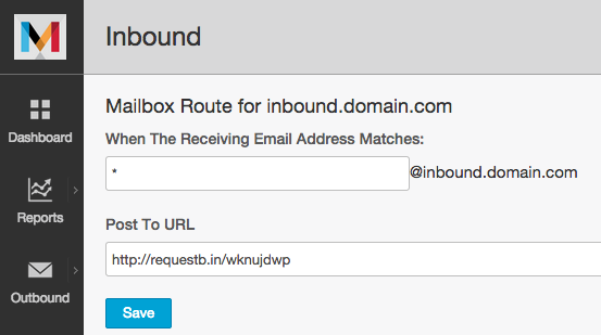 RequestBin test URL for inbound webhooks in Mandrill web interface